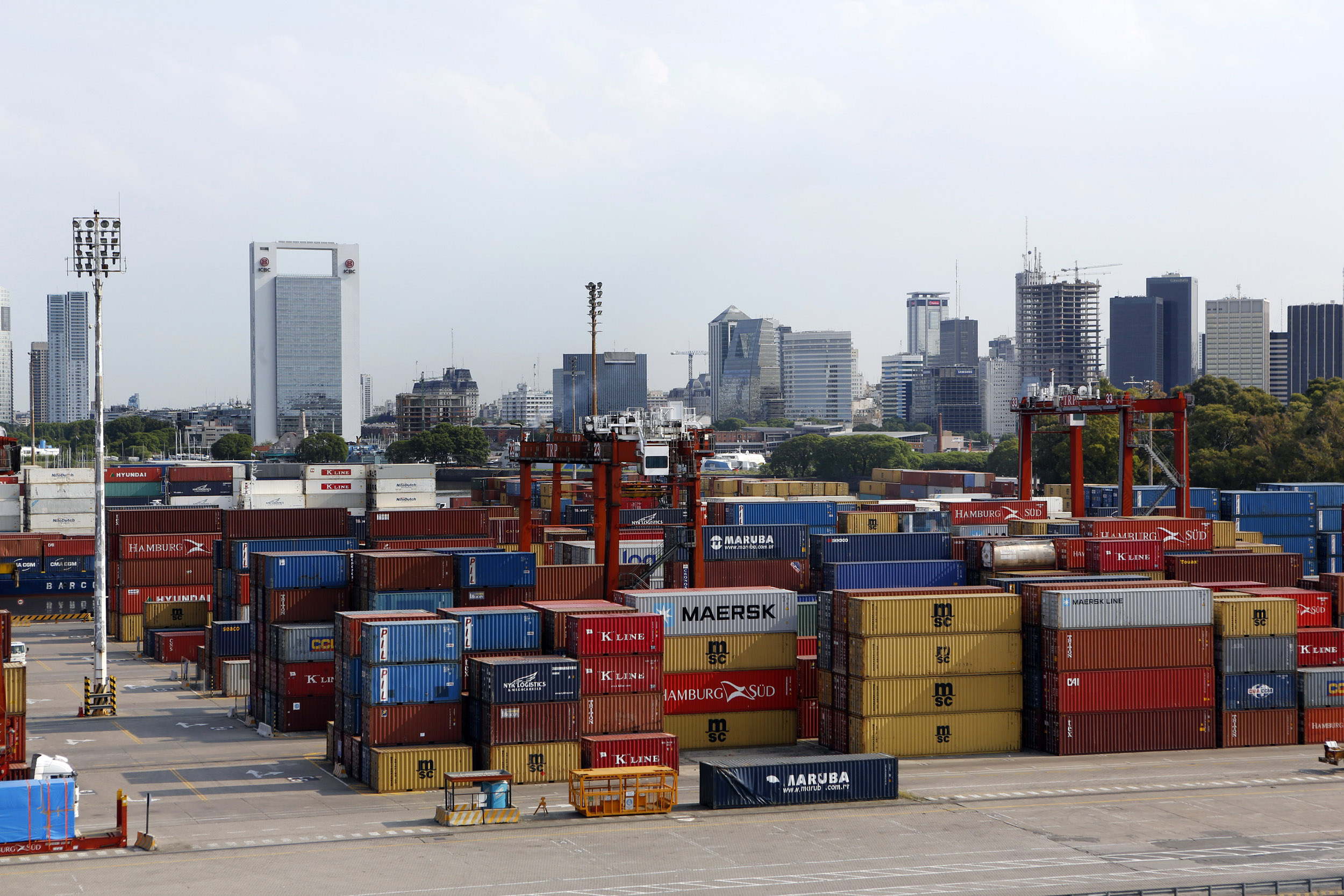 Argentinie Buenos Aires Haven Containers Kranen