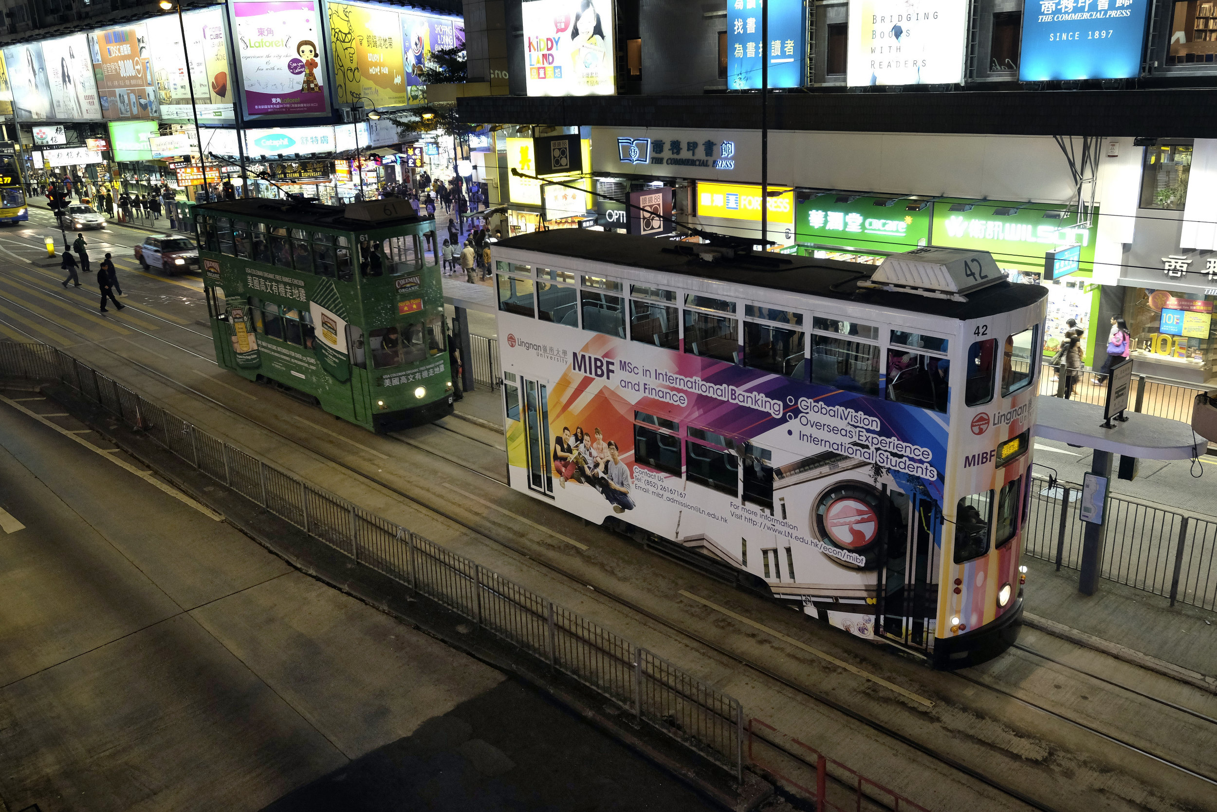 Hong Kong Causeway Bay Straatbeeld Dubbeldeks Trams