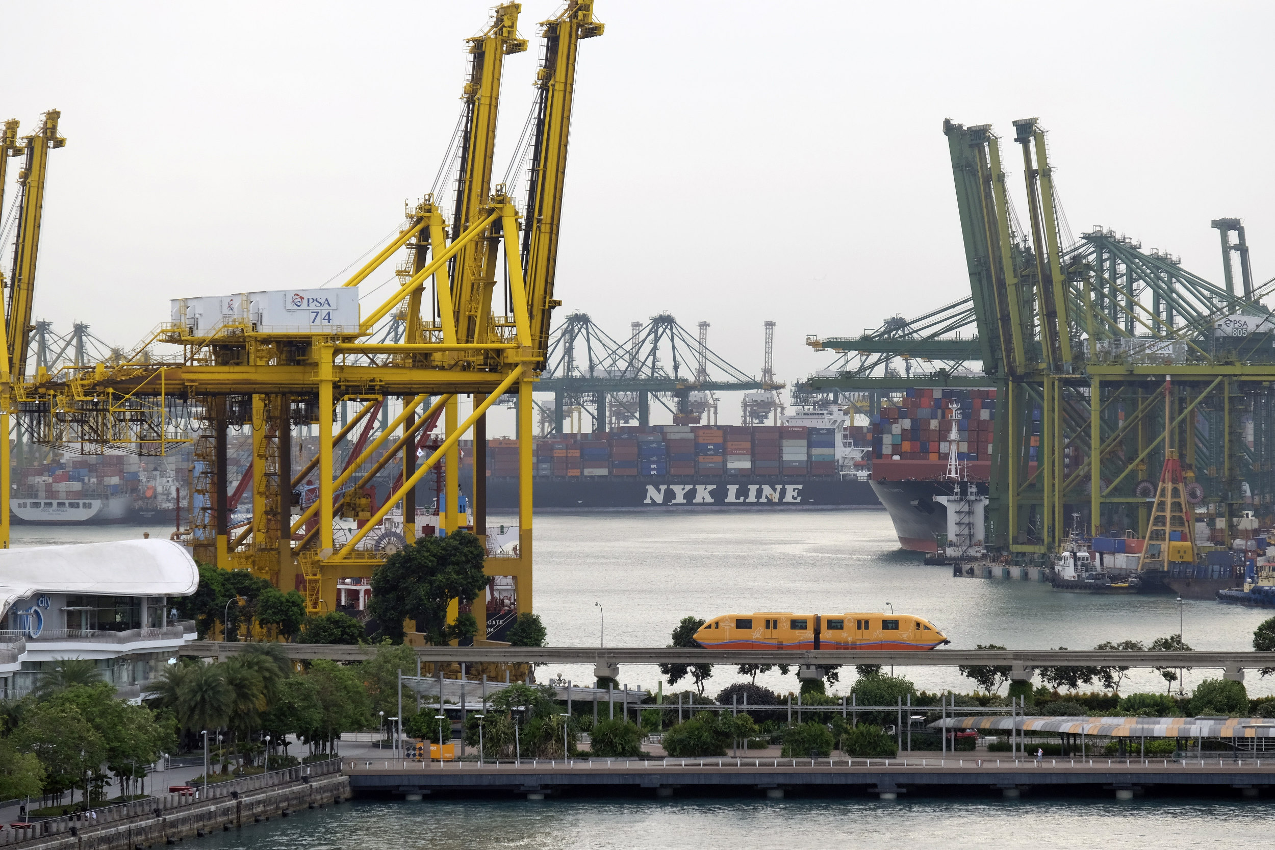 Singapore Haven Containerterminal Kranen Trein NYK Line