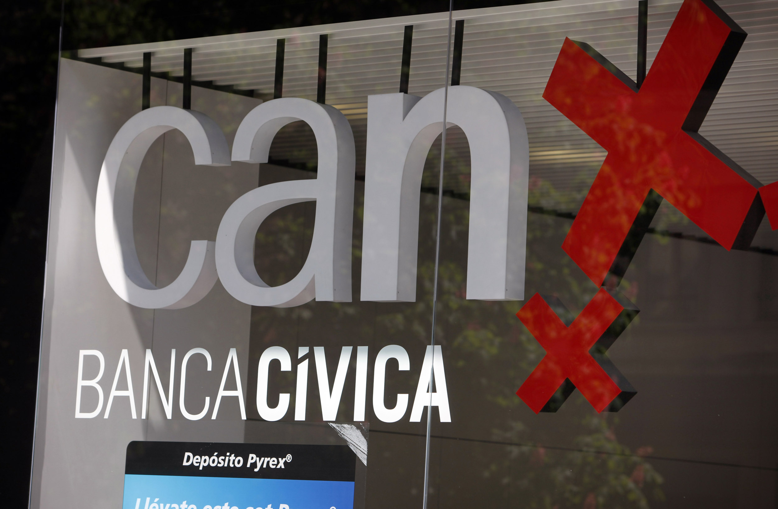 Spanje, Spain, Pamplona, bank, Can Banca Civica, logo